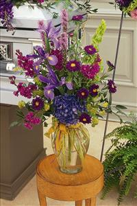 Blues & Purples in Glass Vase by America