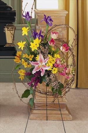 Easel Spray with Grapevine by America's Funeral Florist
